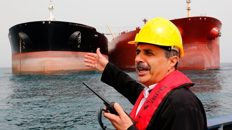 Iranian oil tankers seen in a harbour