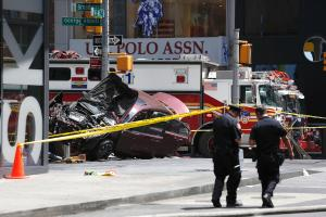 The scene of a deadly crash in New York City's Times Square on Thursday.
