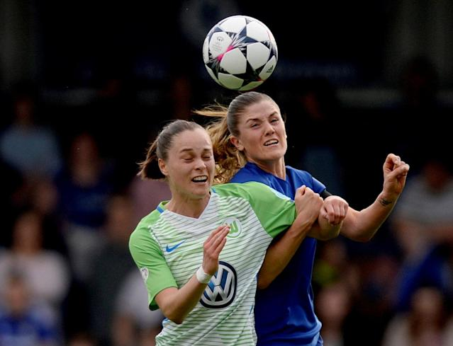Soccer Football - Women's Champions League Semi Final First Leg - Chelsea v VfL Wolfsburg - The Cherry Red Records Stadium, London, Britain - April 22, 2018 Chelsea's Maren Mjelde in action with Wolfsburg's Ewa Pajor Action Images via Reuters/Adam Holt