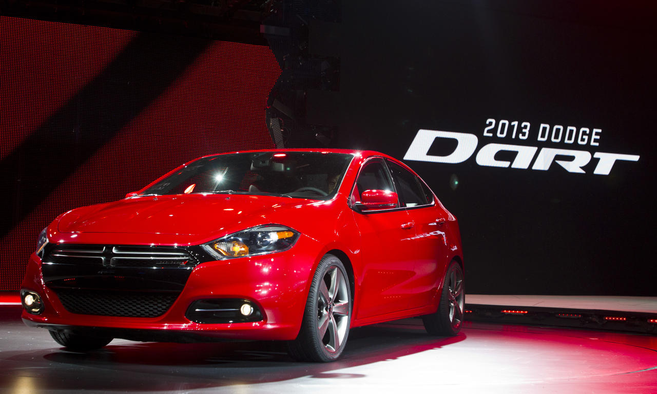 <p>               FILE - In this Monday, Jan. 9, 2012, file photo, the 2013 Dodge Dart is unveiled at the North American International Auto Show, in Detroit, Mich. The Dart, unveiled with much fanfare at last year's Detroit auto show, got off to a slow start after going on sale in May 2012. Only 25,000 have sold, which CEO Sergio Marchionne concedes is short of his expectations. (AP Photo/Tony Ding, file)