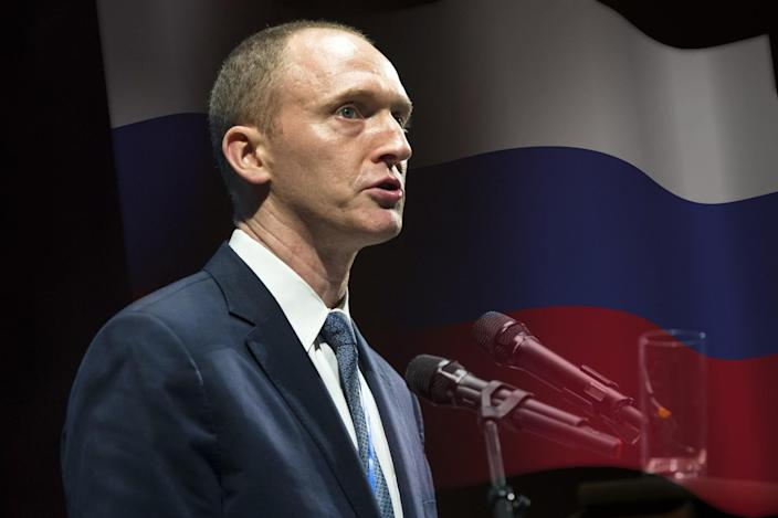Carter Page speaks at the graduation ceremony for the New Economic School in Moscow in July. (Photo illustration: Yahoo News, photos: Pavel Golovkin/AP, AP)