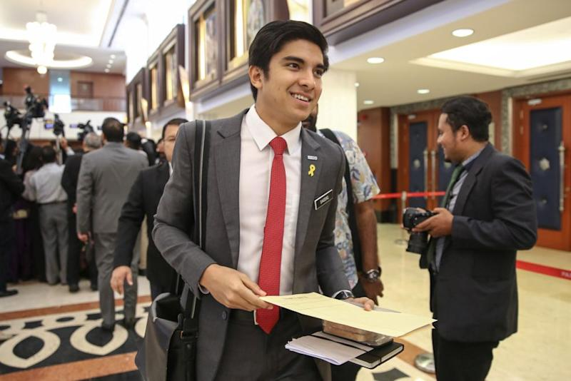 Youth and Sports Minister Syed Saddiq Syed Abdul Rahman is pictured at Parliament in Kuala Lumpur July 11, 2019. — Picture by Yusof Mat Isa