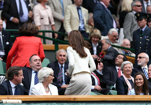 LONDON, ENGLAND - JULY 08: British Prime Minister David Cameron, his mother Mary Cameron, Catherine, Duchess of Cambridge and Pippa Middleton sit in the Royal Box during the Gentlemen's Singles final match between Roger Federer of Switzerland and Andy Murray of Great Britain on day thirteen of the Wimbledon Lawn Tennis Championships at the All England Lawn Tennis and Croquet Club on July 8, 2012 in London, England. (Photo by Clive Brunskill/Getty Images)
