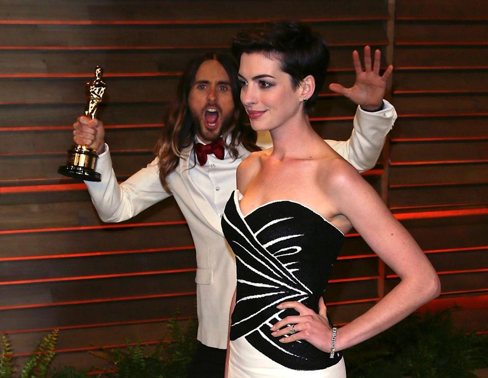 <p>Honestly, Jared Leto's undulating waves of hair are a welcome addition to any photo. </p>