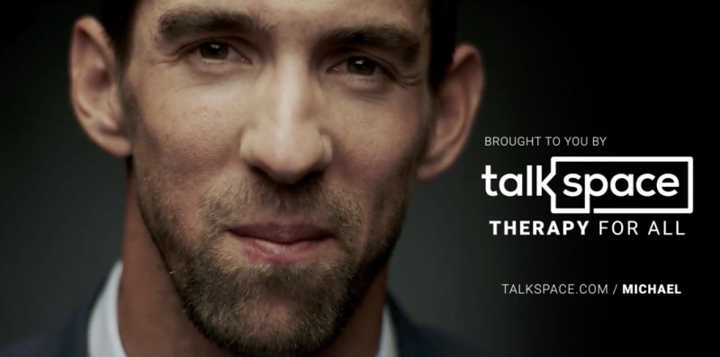 Olympic swimmer Michael Phelps appears an ad for the online and mobile therapy company Talkspace. (Talkspace)
