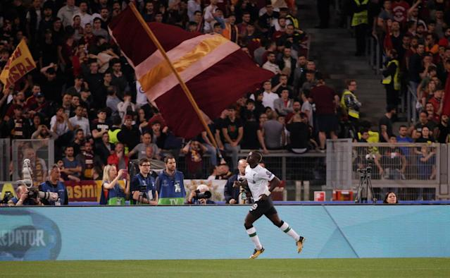 Soccer Football - Champions League Semi Final Second Leg - AS Roma v Liverpool - Stadio Olimpico, Rome, Italy - May 2, 2018 Liverpool's Sadio Mane celebrates scoring their first goal REUTERS/Max Rossi