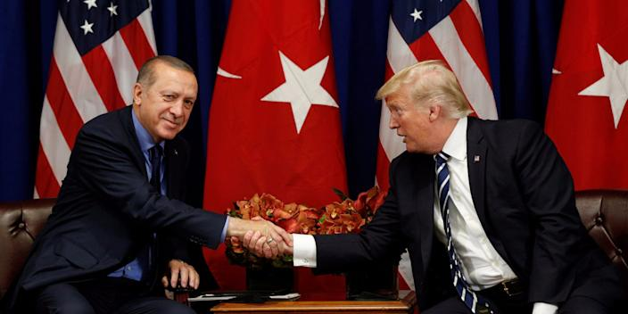 Trump with Turkish President Recep Tayyip Erdogan during the UN General Assembly in New York City in 2017.