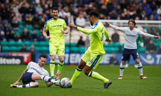 "Soccer Football - Championship - Preston North End vs Derby County - Deepdale, Preston, Britain - April 2, 2018 Preston North End's Alan Browne (L) in action with Derby County's Tom Huddlestone Action Images/Craig Brough EDITORIAL USE ONLY. No use with unauthorized audio, video, data, fixture lists, club/league logos or ""live"" services. Online in-match use limited to 75 images, no video emulation. No use in betting, games or single club/league/player publications. Please contact your account representative for further details."