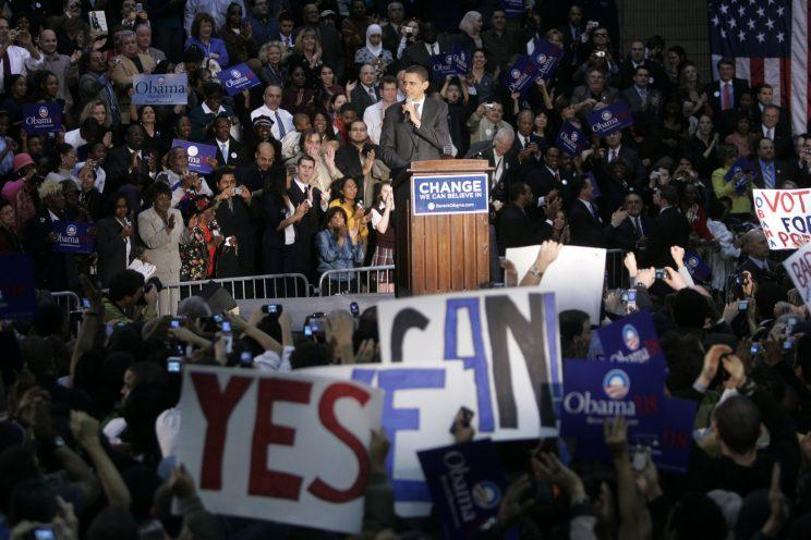 Democratic presidential hopeful Barack Obama speaking at a rally in Jersey City, N.J., Jan. 9, 2008. (Photo: Seth Wenig/AP)