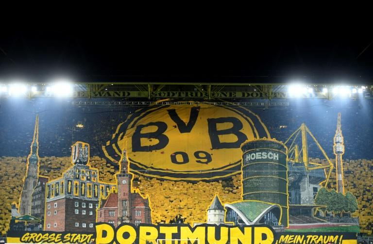Fans on the 'wall' unveiled banners showing Dortmund landmarks before Friday's victory over Eintracht Frankfurt