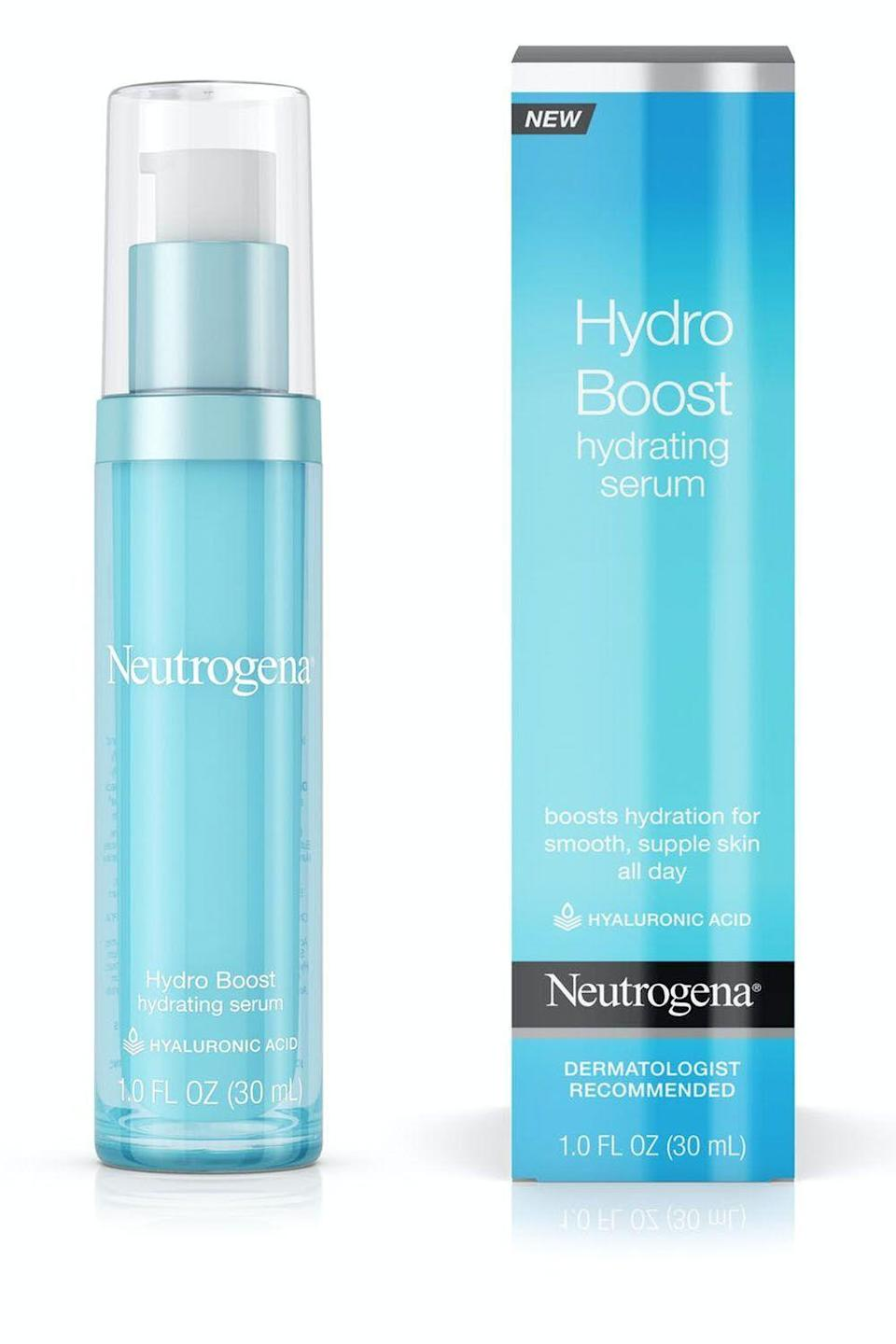 """<p><strong>Neutrogena</strong></p><p>amazon.com</p><p><strong>$19.99</strong></p><p><a href=""""https://www.amazon.com/dp/B01HOHBS7K?tag=syn-yahoo-20&ascsubtag=%5Bartid%7C10049.g.32934142%5Bsrc%7Cyahoo-us"""" rel=""""nofollow noopener"""" target=""""_blank"""" data-ylk=""""slk:Shop Now"""" class=""""link rapid-noclick-resp"""">Shop Now</a></p><p>Like I said, loading up your skin with too many drying products can lead to the overproduction of oil and more breakouts down the road. This <a href=""""https://www.cosmopolitan.com/style-beauty/beauty/g28668988/best-drugstore-skincare/"""" rel=""""nofollow noopener"""" target=""""_blank"""" data-ylk=""""slk:drugstore"""" class=""""link rapid-noclick-resp"""">drugstore</a> hyaluronic acid-filled formula actually tackles dryness instead of masking it, and it's oil-free and non-comedogenic (meaning it won't clog your pores). Translation: It will <strong>keep your skin balanced and hydrated without breaking the budget.</strong> </p>"""