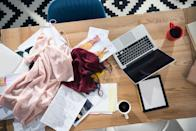 """<p>Getting rid of that stack of mail, the pile of shoes by the door, and the overflow from your closet may improve your sense of well-being. Studies have linked cluttered environments with stress and lower self-control (say, around food), which can put a damper on your physical health. </p><p><strong>LAB TRICK: </strong>Try snapping a photo of a messy area of your home, then devote 20 minutes to picking up. When the timer rings, pause for at least 10 minutes (or the rest of the day if you like!). Replacing open-ended cleaning sessions with a timed window makes the chore less overwhelming, says Rachel Hoffman, author of <em><a href=""""https://www.amazon.com/gp/product/1250219728/?tag=syn-yahoo-20&ascsubtag=%5Bartid%7C2089.g.35650177%5Bsrc%7Cyahoo-us"""" rel=""""nofollow noopener"""" target=""""_blank"""" data-ylk=""""slk:Cleaning Sucks"""" class=""""link rapid-noclick-resp"""">Cleaning Sucks</a></em>. And comparing the """"before"""" and """"after"""" photos will give you a sense of accomplishment.</p>"""