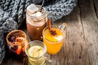 """<p>After a lengthy countdown, the season for <a href=""""https://www.oprahmag.com/style/g28188946/cute-sweaters-for-fall/"""" rel=""""nofollow noopener"""" target=""""_blank"""" data-ylk=""""slk:cozy sweaters"""" class=""""link rapid-noclick-resp"""">cozy sweaters</a>, <a href=""""https://www.oprahmag.com/life/g27562264/best-fall-scented-candles/"""" rel=""""nofollow noopener"""" target=""""_blank"""" data-ylk=""""slk:woodsy-scented candles"""" class=""""link rapid-noclick-resp"""">woodsy-scented candles</a>, and everything <a href=""""https://www.oprahmag.com/life/g28082296/pumpkin-scented-candles/"""" rel=""""nofollow noopener"""" target=""""_blank"""" data-ylk=""""slk:pumpkin spice"""" class=""""link rapid-noclick-resp"""">pumpkin spice</a> is finally upon us. And while some of our favorite <a href=""""https://www.oprahmag.com/life/g28340277/fun-fall-activities"""" rel=""""nofollow noopener"""" target=""""_blank"""" data-ylk=""""slk:fall activities"""" class=""""link rapid-noclick-resp"""">fall activities</a> and traditions look a tad different this year, there's still plenty to celebrate: Thanksgiving, (socially distant) <a href=""""https://www.oprahmag.com/life/g33861427/scariest-haunted-houses-in-us/"""" rel=""""nofollow noopener"""" target=""""_blank"""" data-ylk=""""slk:haunted houses"""" class=""""link rapid-noclick-resp"""">haunted houses</a>, <a href=""""https://www.oprahmag.com/life/g28041226/best-fall-harvest-festivals/"""" rel=""""nofollow noopener"""" target=""""_blank"""" data-ylk=""""slk:harvest festivals"""" class=""""link rapid-noclick-resp"""">harvest festivals</a>, our favorite football teams, <a href=""""https://www.oprahmag.com/life/g34014987/best-fire-pits/"""" rel=""""nofollow noopener"""" target=""""_blank"""" data-ylk=""""slk:backyard bonfires"""" class=""""link rapid-noclick-resp"""">backyard bonfires</a>, and even just a plain old pretty autumn evening—all of which pair perfectly with a fall cocktail. </p><p>Whether you're hosting a small holiday happy hour or just need a little pick-me-up after a long day, these delicious drinks are infused with fall's best flavors (think: cinnamon and sugar margaritas, pumpkin Moscow mules, candy corn martin"""