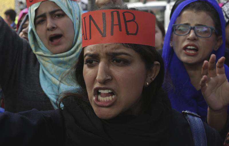 Pakistani students protest during a rally to condemn the rape and killing of Zainab Ansari, an 8-year-old girl last week in Kasur, Thursday, Jan. 11, 2018, in Lahore, Pakistan. Anees Ansari, Zainab's father, accused the police of being slow to respond when his daughter went missing. Two people were killed and three others were wounded in clashes between angry Kasur residents and police after protesters enraged over her death attacked a police station in the city. (AP Photo/K.M. Chaudary)