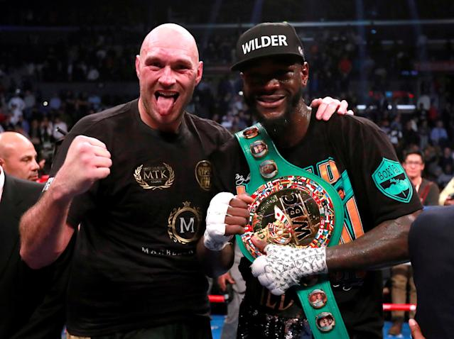 Tyson Fury and Deontay Wilder after their fight in Los Angeles. (Reuters)