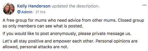 The new Facebook group hopes to steer clear of