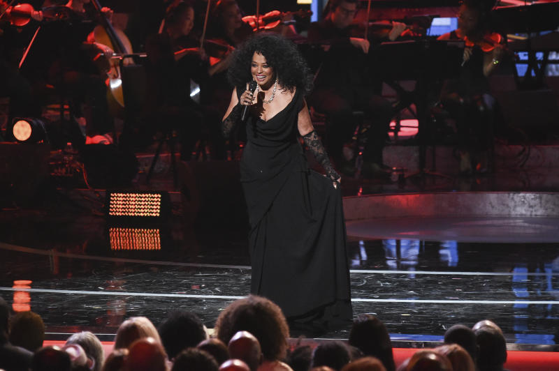"FILE - In this Feb. 12, 2019 file photo, Diana Ross performs during Motown 60: A GRAMMY Celebration at the Microsoft Theater in Los Angeles. Motown Records founder Berry Gordy says his historic label brought people from all walks of life through a ""legacy of love"" at the ""Motown 60: A Grammy Celebration"" during a taped tribute that will air April 21 on CBS. (Photo by Richard Shotwell/Invision/AP, File)"