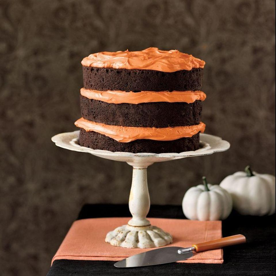 "<p>One recipe, two tasty options: Make an impressive triple-layer cake or whip up a batch of easy cupcakes instead.</p><p><em><a href=""https://www.goodhousekeeping.com/food-recipes/a5721/chocolate-pumpkin-cake-cupcakes-3922/"" rel=""nofollow noopener"" target=""_blank"" data-ylk=""slk:Get the recipe for Chocolate Pumpkin Cake and Cupcakes »"" class=""link rapid-noclick-resp"">Get the recipe for Chocolate Pumpkin Cake and Cupcakes »</a></em> </p>"