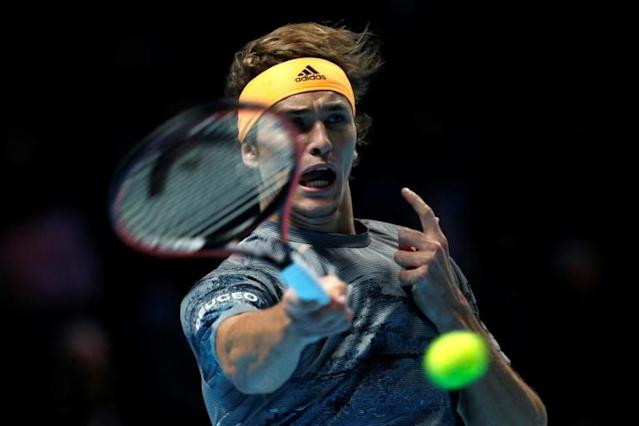 Alexander Zverev in action against Stefanos Tsitsipas at the ATP Finals (AFP Photo/Adrian DENNIS)