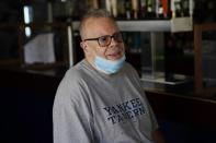 Joe Bastone, owner of Yankee Tavern, responds to questions during an interview Friday, Aug. 14, 2020, in New York. (AP Photo/Frank Franklin II)