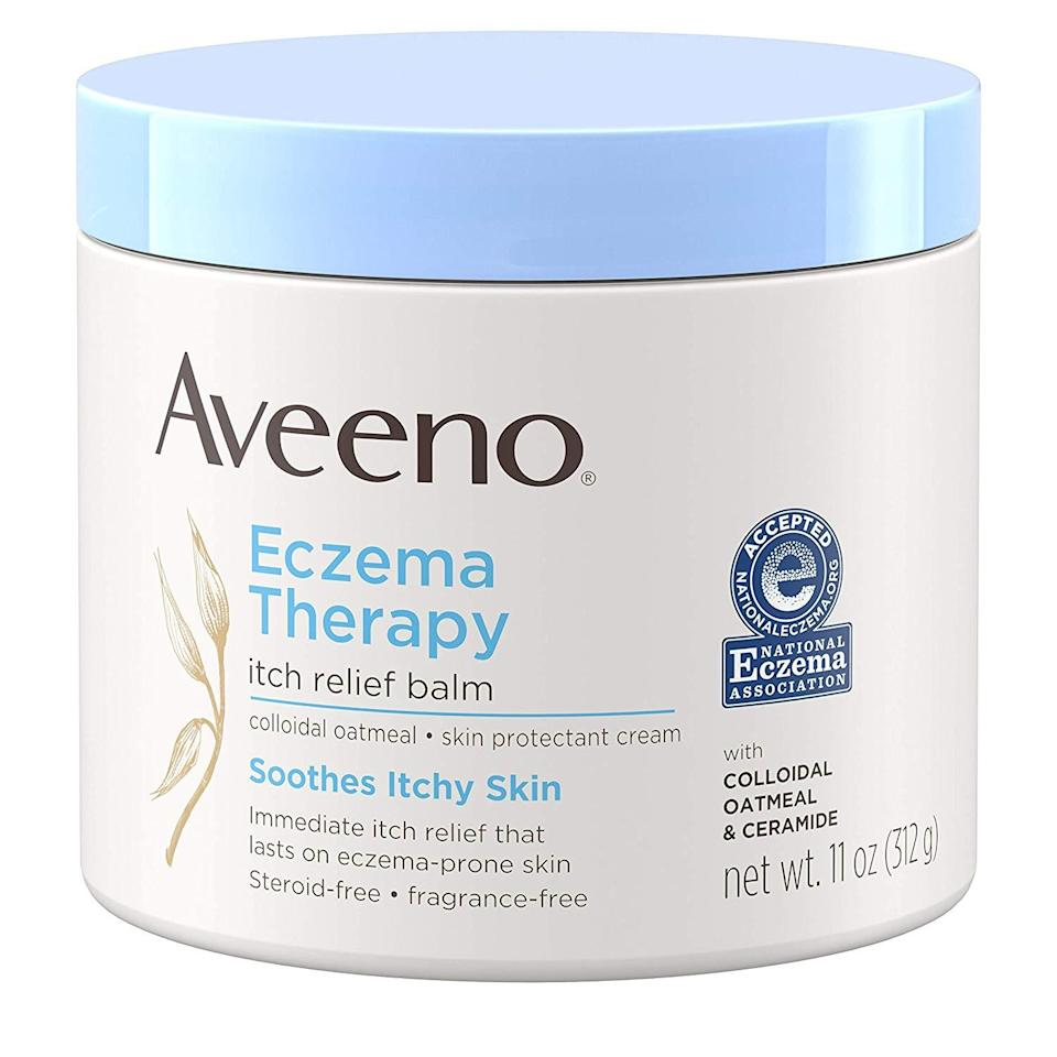 "<h3>Aveeno Eczema Therapy Itch Relief Balm</h3><br>Dermatologist Shari Sperling, MD, of <a href=""https://www.instagram.com/sperlingdermatology/"" rel=""nofollow noopener"" target=""_blank"" data-ylk=""slk:Sperling Dermatology"" class=""link rapid-noclick-resp"">Sperling Dermatology</a>, recommends this balm to her patients with irritated skin. ""It's formulated with colloidal oatmeal in addition to ceramides, which helps restore the skin's moisture barrier while calming existing irritation,"" she says.<br><br><strong>Aveeno</strong> Eczema Therapy Itch Relief Balm , $, available at <a href=""https://www.amazon.com/gp/product/B01HOHBWOY?ie=UTF8&tag=etaleusaveeno-20&linkCode=as2&camp=1634&creative=19450&creativeASIN=B01HOHBWOY"" rel=""nofollow noopener"" target=""_blank"" data-ylk=""slk:Amazon"" class=""link rapid-noclick-resp"">Amazon</a>"