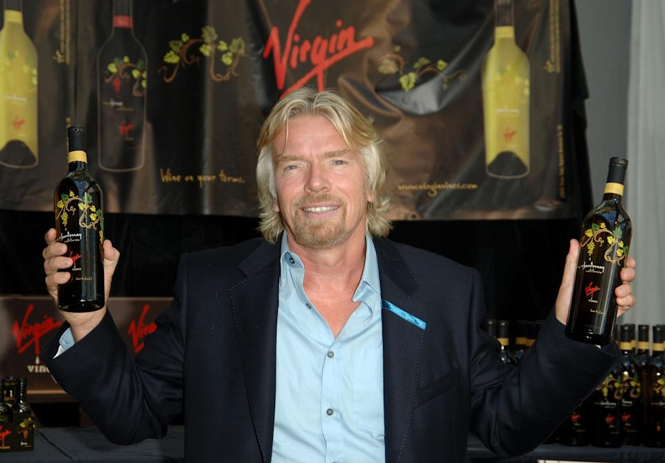 "Richard Branson holds a press conference to introduce ""VIRGIN WINES"""