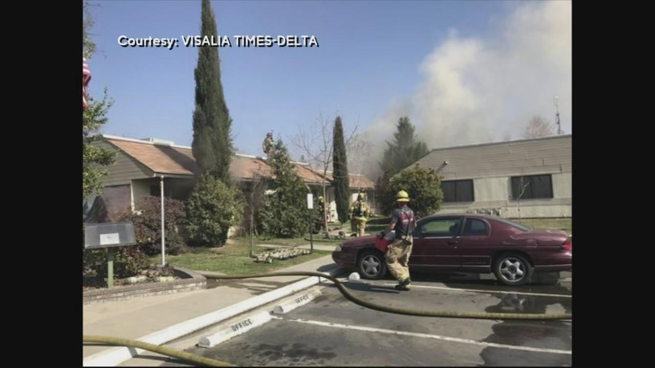 At least 10 people were forced to leave their homes after a fire broke out at Meadows Senior Cottages in Visalia.