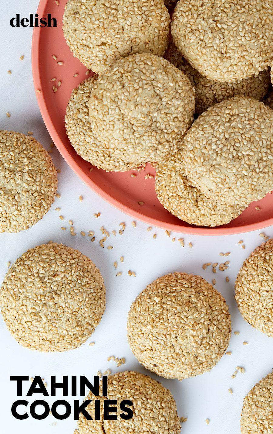 """<p>Tahini cookies are kind of like a more grown up version of your favorite <a href=""""https://www.delish.com/cooking/recipe-ideas/recipes/a51462/easy-peanut-butter-cookie-recipe/"""" rel=""""nofollow noopener"""" target=""""_blank"""" data-ylk=""""slk:peanut butter cookie"""" class=""""link rapid-noclick-resp"""">peanut butter cookie</a> and so much better. They are soft with a slight chew and sesame seeds on the outside add a slight crunch.</p><p>Get the recipe from <a href=""""https://www.delish.com/cooking/recipe-ideas/a35046470/tahini-cookies-recipe/"""" rel=""""nofollow noopener"""" target=""""_blank"""" data-ylk=""""slk:Delish"""" class=""""link rapid-noclick-resp"""">Delish</a>.</p>"""