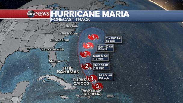 PHOTO: Hurricane Maria is forecast to weaken and steer clear of the U.S. mainland. (ABC News)