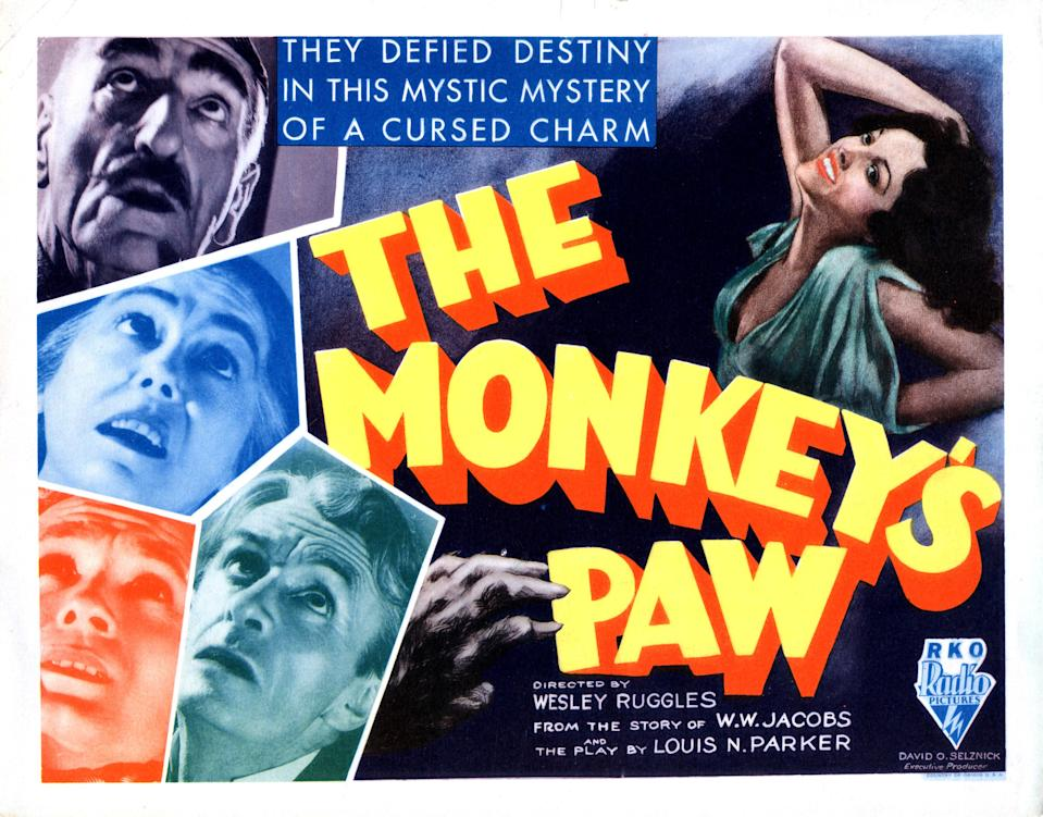 The Monkey's Paw, poster, left from top, C. Aubrey Smith, Louise Carter, Bramwell Fletcher, Ivan F. Simpson, Nina Quartero, (right), 1933. (Photo by LMPC via Getty Images)