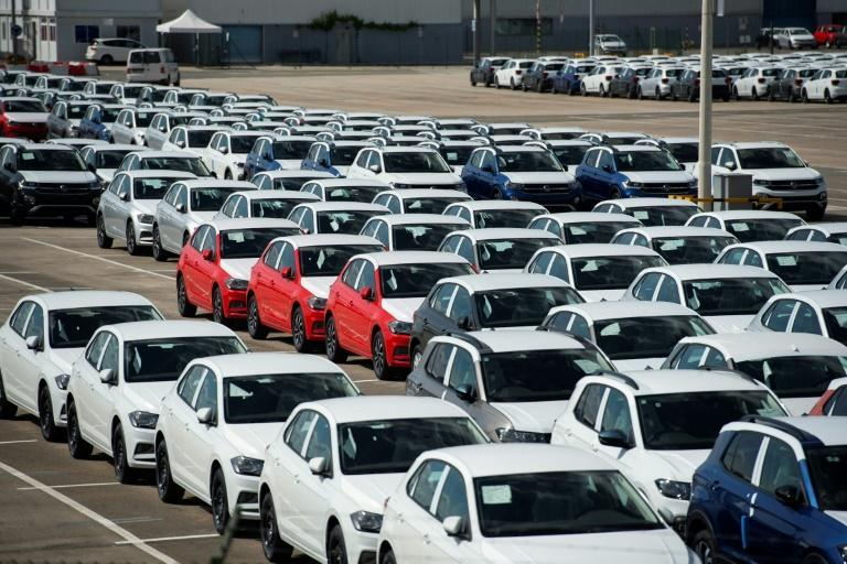 Thousands of unfinished cars are seen parked at a Volkswagen factory in Pamplona, Spain, in May due to the lack of semiconductor supplies