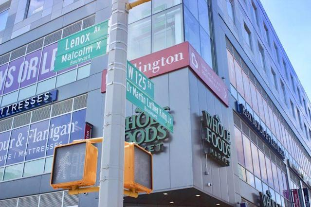 The intersection of the new Whole Foods in Harlem.