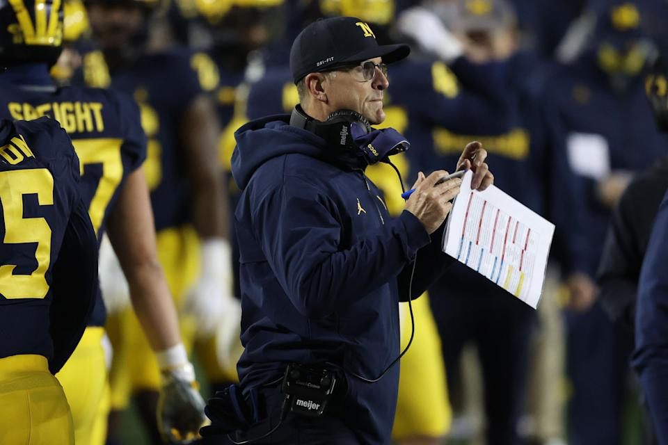 ANN ARBOR, MICHIGAN - NOVEMBER 14: Head coach Jim Harbaugh looks on while playing the Wisconsin Badgers at Michigan Stadium on November 14, 2020 in Ann Arbor, Michigan. (Photo by Gregory Shamus/Getty Images)