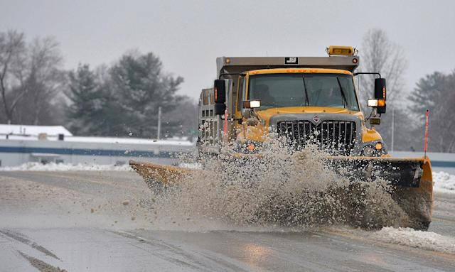 <p>A Penn DOT plow truck clears snow and slush from West 12th Street just east of the Erie International Airport in Millcreek Township, Erie County, Pa., March 7, 2018, after a morning snowfall. (Photo: Christopher Millette/Erie Times-News via AP) </p>