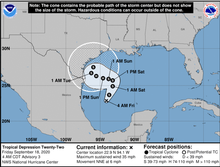 While Tropical Depression 22 is still not very well organized, it is forecast to turn into a tropical storm later Friday and will likely be the one to snag the name Wilfred. Forecasters are also predicting that it could near or reach Category 1 hurricane-level strength by Sunday as it slowly moves over the western Gulf of Mexico, according to the National Hurricane Center.