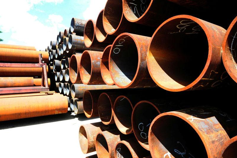 FILE PHOTO - Pipes are seen at Bri-Steel Manufacturing, a manufacturer and distributer of large diameter seamless steel pipes, in Edmonton