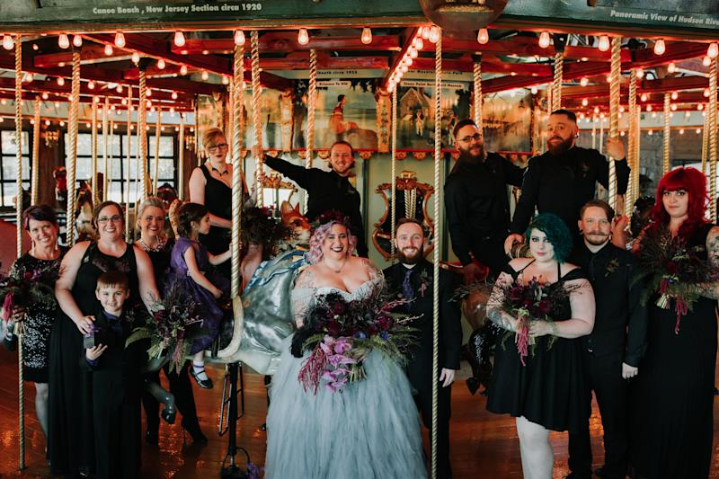 The merry-go-round at the venue added some whimsy to the big day.  (The Ramsdens)