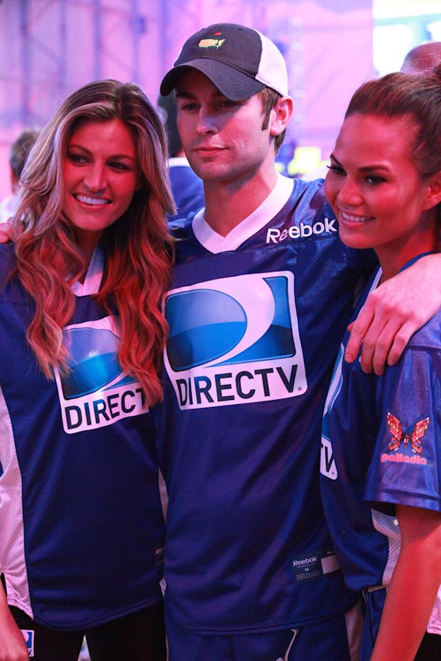 Erin Andrews, Chase Crawford and Chrissy Teigen at the DirecTV Celebrity Beach Bowl in Indianapolis.