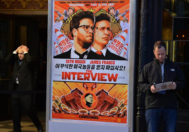 """""""The Interview"""" was available for rent in the United States from 1800 GMT on several platforms, a day before a limited release in about 200 cinemas on Christmas Day (AFP Photo/)"""