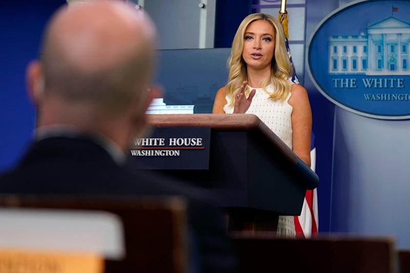 Kayleigh McEnany answers press questions after a Supreme Court ruling on Donald Trump's tax returns: AP