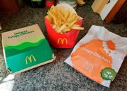 McDonald's Crispy Chicken Sandwiches and fries are pictured in New York