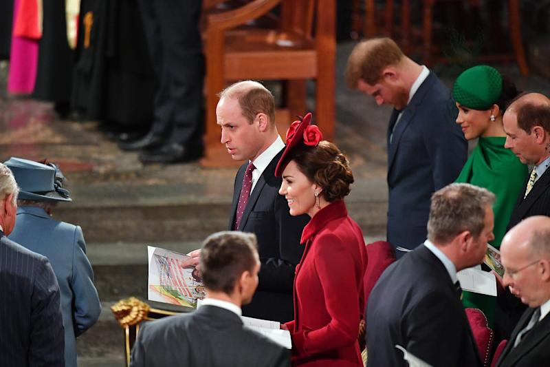LONDON, ENGLAND - MARCH 09: Prince William, Duke of Cambridge, Catherine, Duchess of Cambridge, Prince Harry, Duke of Sussex, Meghan, Duchess of Sussex and Prince Edward, Earl of Wessex attend the Commonwealth Day Service 2020 on March 9, 2020 in London, England. (Photo by Phil Harris - WPA Pool/Getty Images)