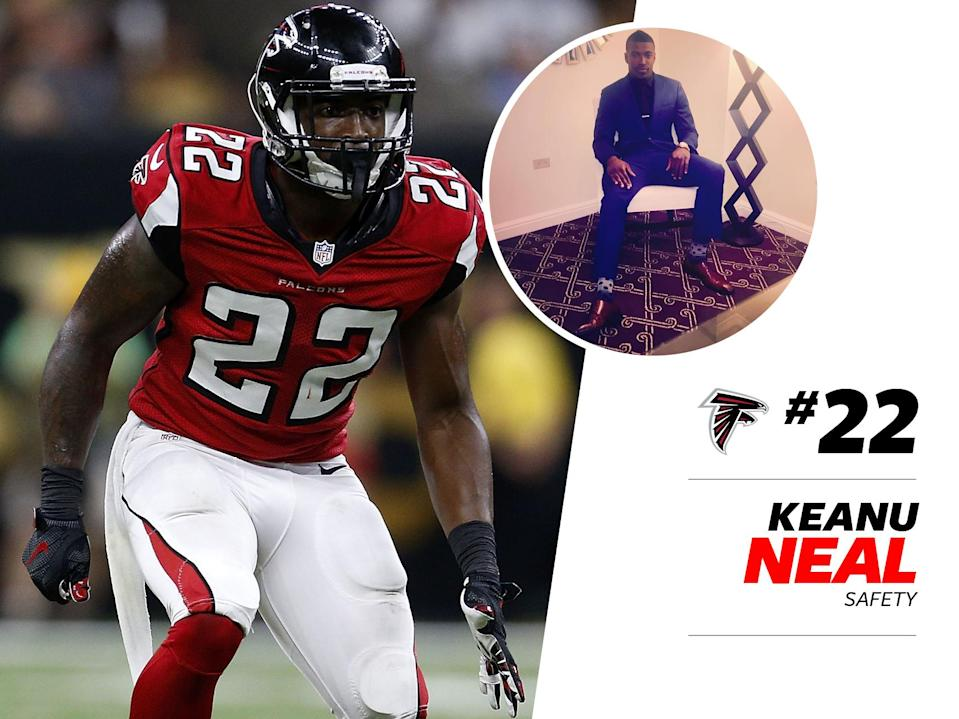 """<p>Keanu Neal is arguably the best dressed player on the Atlanta Falcons. He was all about the <a href=""""https://www.instagram.com/p/ylZlo_hT0J/"""" rel=""""nofollow noopener"""" target=""""_blank"""" data-ylk=""""slk:cargo print trend"""" class=""""link rapid-noclick-resp"""">cargo print trend</a> last year, and he doesn't slack when it comes to suits, either: his <a href=""""https://www.instagram.com/p/BEwiN7mhT96/"""" rel=""""nofollow noopener"""" target=""""_blank"""" data-ylk=""""slk:tie clip and polka dot socks"""" class=""""link rapid-noclick-resp"""">tie clip and polka dot socks</a> show attention to detail. </p>"""