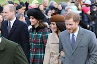 "<p>Middleton, her husband, her brother-in-law, and her future sister-in-law, Meghan Markle, attended a Christmas church service in Sandringham in December 2017. The appearance helped inspire the group's nickname, the ""Fab Four.""</p>"