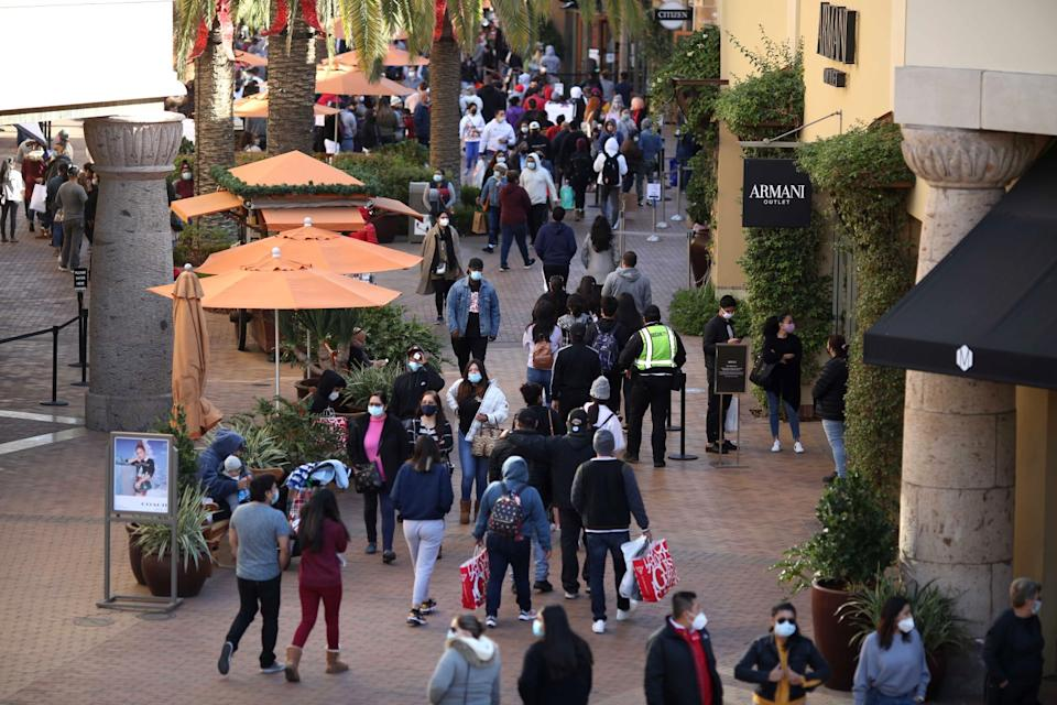 Shoppers fill the walkways at the Citadel Outlets in Los Angeles on Black Friday.