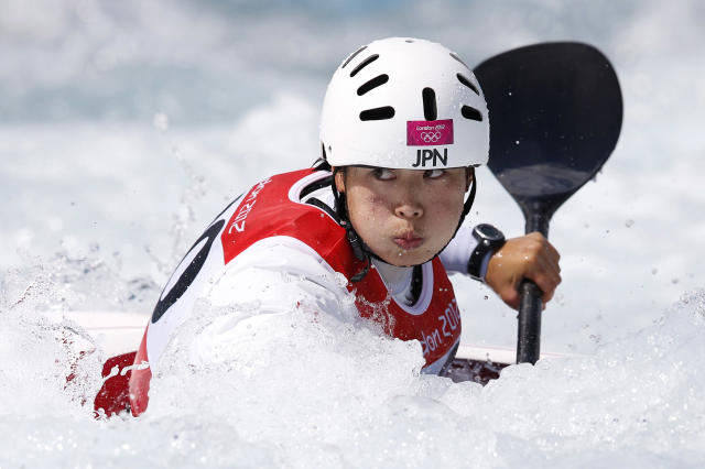 Japan's Moe Kaifuchi competes in the women's kayak (K1) heats at Lee Valley White Water Centre during the London 2012 Olympic Games July 30, 2012. REUTERS/Paul Hanna (BRITAIN - Tags: SPORT OLYMPICS SPORT CANOEING)