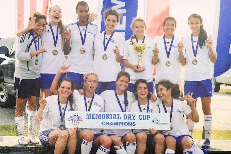 Karla Perez, left, with her soccer clubin 2010.As a high school junior, sheturned down a full-ride soccer scholarship because she didn't wantto tell the coach she couldn't travel due to her status. (Courtesy of Karla Perez)