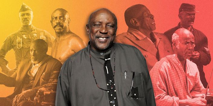 "Seen here, from left: Louis Gossett Jr. in ""Iron Eagle,"" ""Watchmen,"" ""Diggstown,"" ""The Cuban,"" ""Roots"" and ""Ellen."" (Photo: Illustration: Isabella Carapella/HuffPost; Photos: Getty Images, HBO, Brainstorm Media)"