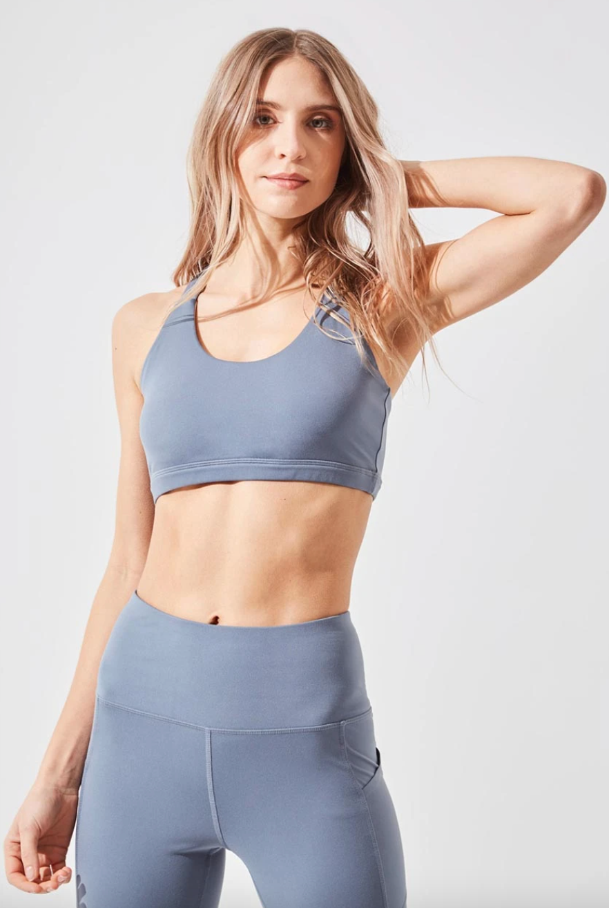 Valor Recycled Polyester Medium Support Bra in Stormy Blue (Photo via MPG Sport)
