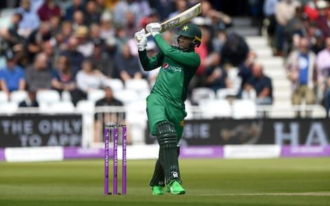 <span>Fakhar Zaman mows a six off Mark Wood</span> <span>Credit: Stu Forster/Getty Images </span>